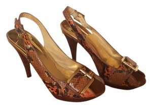 Michael Kors Brown Multi Color Snake Skin Platforms