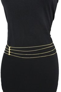 Other Women Gold Fashion Narrow Belt Hip Waist Strand Thin Metal Chain Side Wave