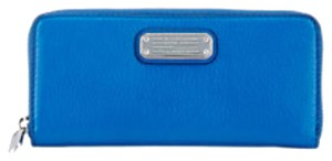 Marc by Marc Jacobs MARC by Marc Jacobs Too Hot to Handle Slim Zip Wallet Blue Metallic New With Tags