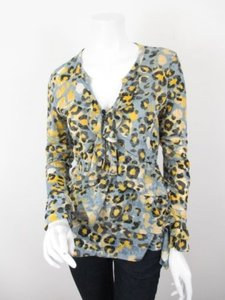 Other V Cristina Leopard Cheetah Print Ruffle Tiered Shirt Top Yellow, Gray, Black