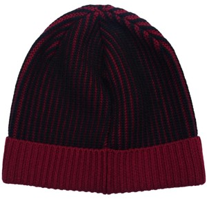 Versace Versace Red/Navy Knitted Beanie Wool Hat