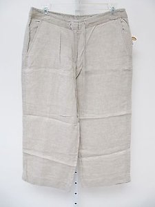 Talbots Womens Irish Linen Capri/Cropped Pants Beige
