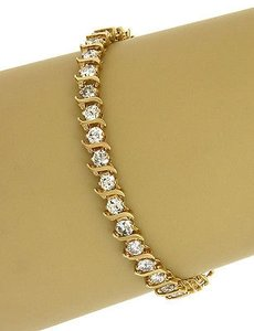 5.00ct Diamonds Tennis Link Bracelet In 14k Yellow Gold