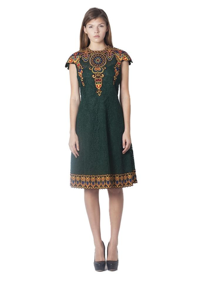 Valentino Green Marocain Embroidered Lace Mid-length Cocktail Dress ...