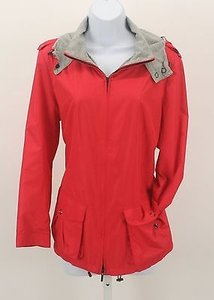 Lafayette 148 New York Zip Front Epaulets B262 Coral, Gray Jacket