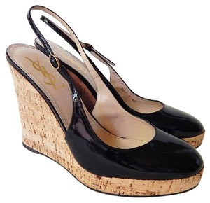 Saint Laurent Ysl Patent Leather Cork Wedge Black Wedges