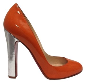 Christian Louboutin Patent Leather Orange and Silver Pumps