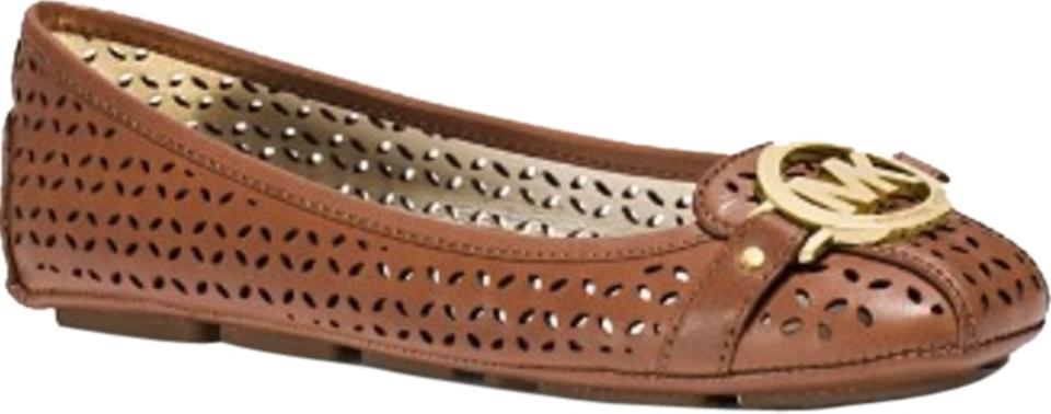 787d5054fe33 Michael Kors Luggage Moccasin Fulton Logo Perforated Flats Size US 8 ...