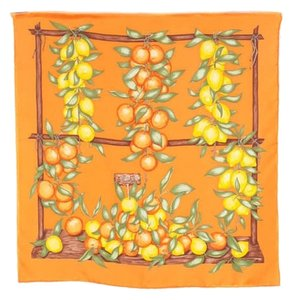 Hermès HERMES Orange Silk Citrus Garden Graphic Handkerchief Scarf