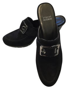 Stuart Weitzman Studded New Black Suede Mules
