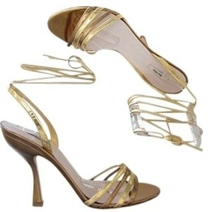 Miu Miu Gold & Bronze Sandals