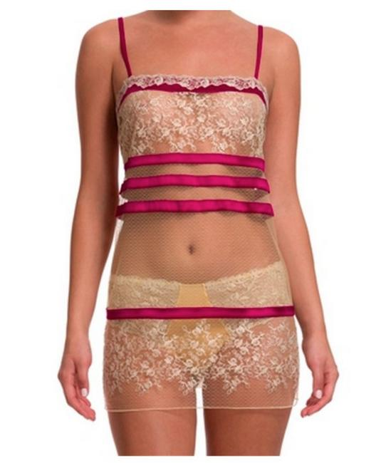 Item - Light Yellow and Pink Sparkling Jasmine Embroidered Sheer Slip