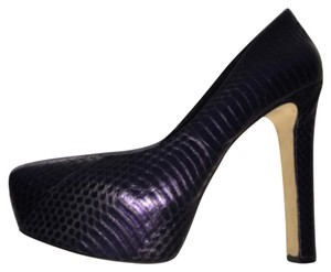 Brian Atwood Snakeskin Platform Stiletto Purple Pumps