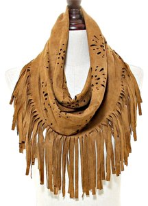 Other Boho Tribal Chic Brown Suede Fringe Infinity Scarf