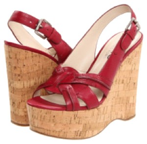 Michael Kors Slingback Wedge Cork Red Sandals