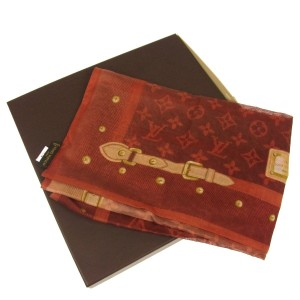 Louis Vuitton AUTH LOUIS VUITTON SCARF HANDKERCHIEF COTTON 100% RED ITALY VINTAGE BOX
