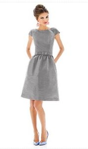 Alfred Sung Knee Length Bateau Neck Cap Sleeves Gray Dress
