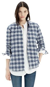 Madewell Flannel Fall Shirt Blue and White Jacket