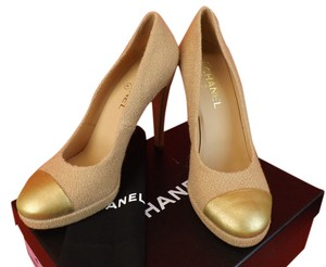 Chanel Light Brown/Gold Pumps