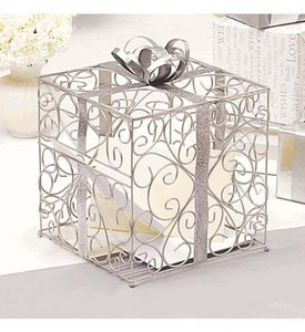 Cathy's Concepts Silver Present Gift Box Card Holder - Perfect For Bridal Showers Or Engagement Parties Reception Decoration