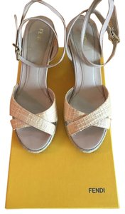 Fendi Woven Leather Beige Wedges