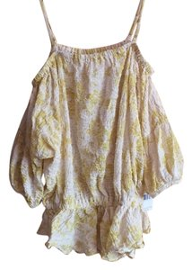 Free People Top Patterned - yellow and cream