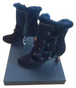 Emporio Armani Fur Wooden Heel Lace-up black Boots