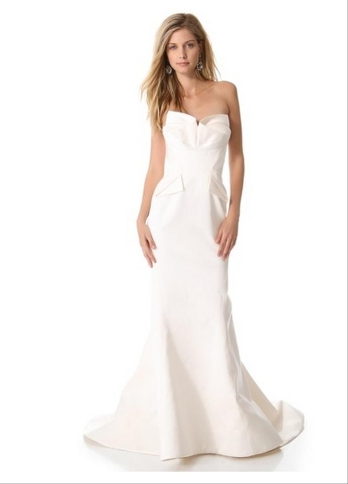 Zac Posen Off-white Silk Bustier Gown Wedding Dress Size 2 (XS ...