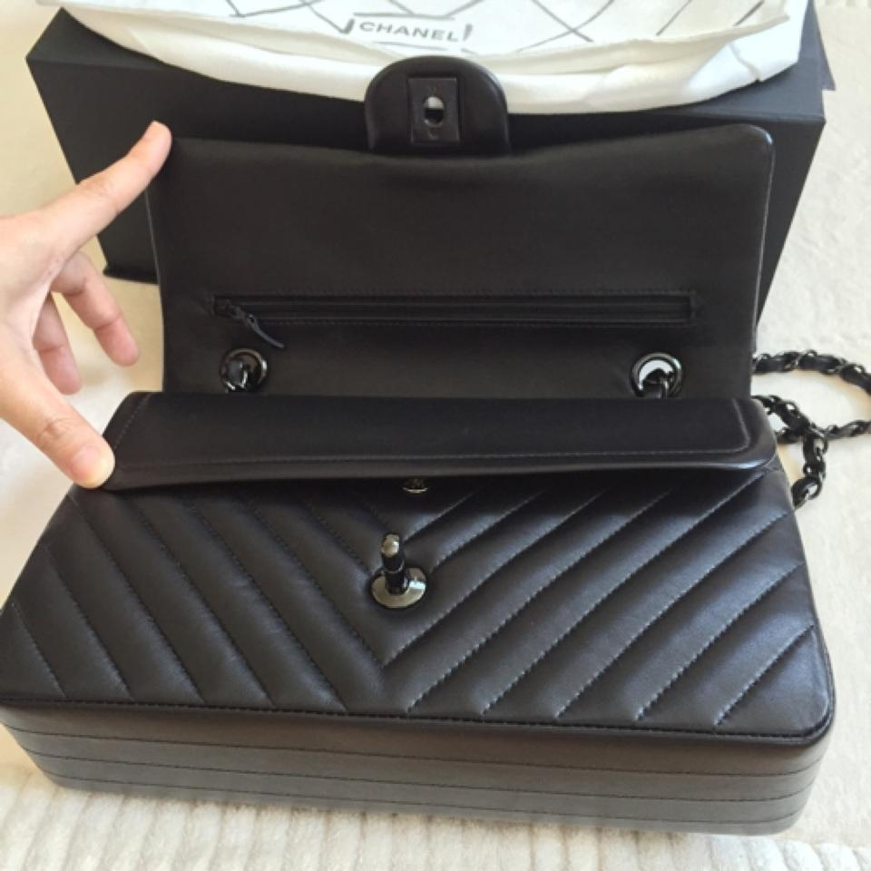 3b6061480715 Chanel Classic Flap Double Flap So Chevron 11.12 Medium Black Lambskin  Shoulder Bag - Tradesy