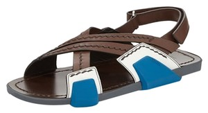 Prada Pradarunway Nyfw Mensandals Gifts For Him Luxurysandal Brown with royal blue Sandals