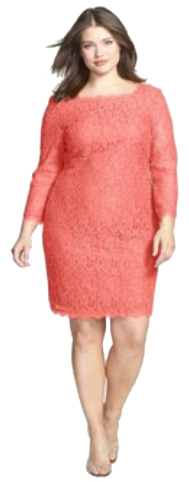 Adrianna Papell Coral Lace Plus Size Knee Length Formal Dress Size