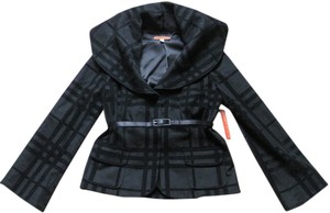 Alice + Olivia Plaid Check Wool Black Jacket