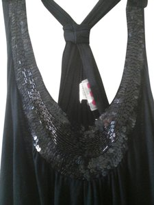 Three Hearts Date Night Sequin Sequin Racerback Large Plus Nwot Draped Top Black