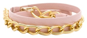 Gorjana Gorjana Pink Leather and Gold Wrap Bracelet