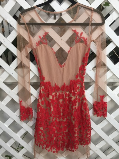 bbe9ca19761d7 chic For Love & Lemons Red Luau Lace Mini Dress - 50% Off Retail ...