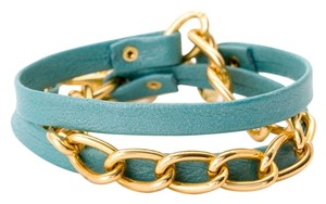 Gorjana Gorjana Turquoise Leather and Gold Bracelet