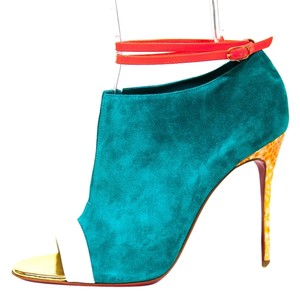 Christian Louboutin Suede Peep Toe Turquoise Boots