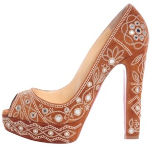 Christian Louboutin Suede Embellished Peep Toe Camel Pumps