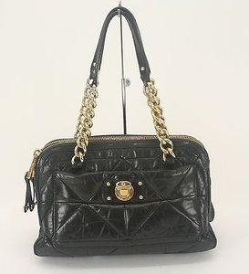 Marc Jacobs Leather Goldtone Chains Double Zip B216 Satchel in Black