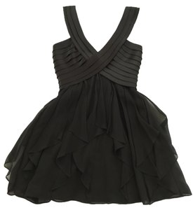 BCBGMAXAZRIA Lbd Little Cocktail Bcbg Ruffle Club Party Raw Edge Petite Dress