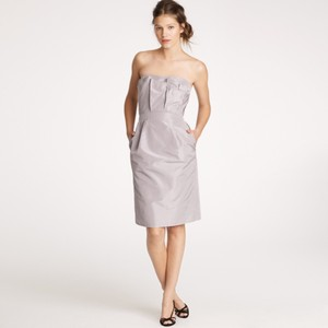 J.Crew Aged Driftwood Silk Taffeta Modern Bridesmaid/Mob Dress Size 12 (L)