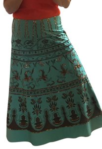 Vanity Sequins Beaded Fully Lined Bronze Zipper Closure Collection Size 10 Maxi Skirt Turquoise with chocolate/brown detailing