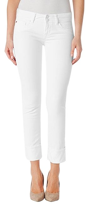 Item - Wh2 White Light Wash Crop Ginny Straight with Cuff In (White) Color Capri/Cropped Jeans Size 28 (4, S)