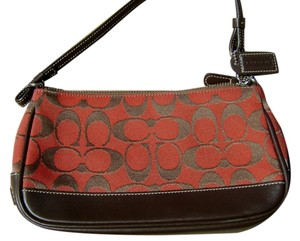 Coach Red and Brown Clutch
