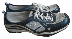 Skechers New Tennis Running Walking Exercise Size 10 Blue and Silver Athletic