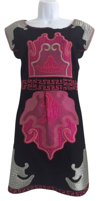 Item - Black. Hot Pink and Silver Above Knee Night Out Dress Size 12 (L)
