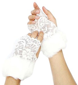 Other Chic White Lace Fur Accent Fingerless Gloves