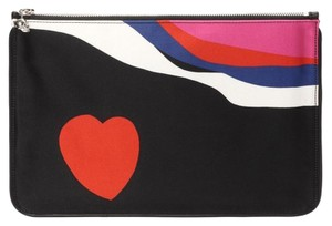 Alexander McQueen Pouch Skull Heart Print New Black and red Clutch