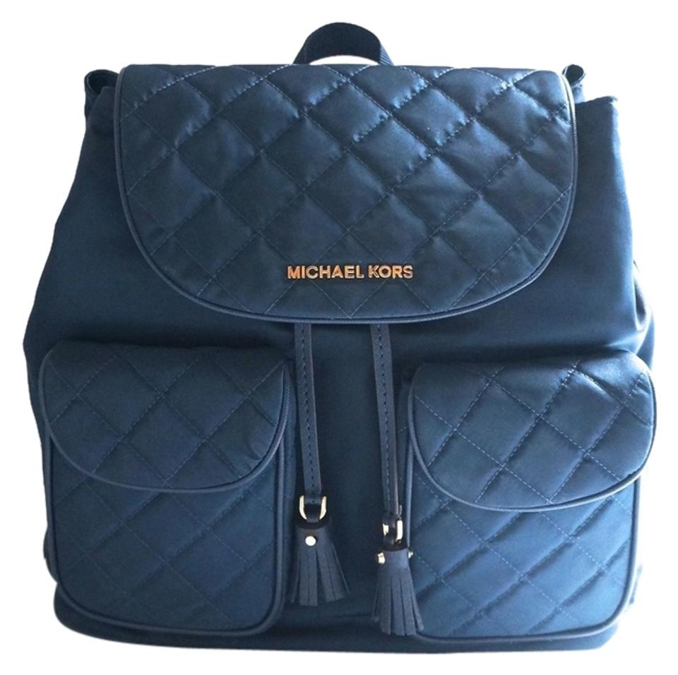 58a6a55360b12e Michael Kors Kieran Quilted Large Navy Nylon Backpack - Tradesy