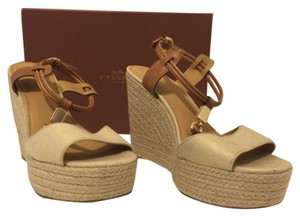 Coach Beige and Brown Wedges